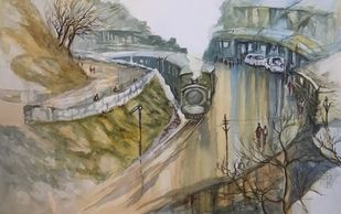 Darjeeling Train at Dawn by Kanan Ananthasubraman, Impressionism Painting, Watercolor on Paper, Brown color