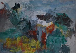 Shifting Resonance by Rinden, Abstract Painting, Mixed Media on Paper, Green color