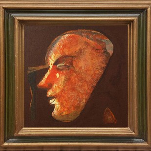 "Face Series, Acrylic on Canvas by Contemporary Artist ""In Stock"" by Tapas Ghosal, Expressionism Painting, Acrylic on Canvas, Brown color"
