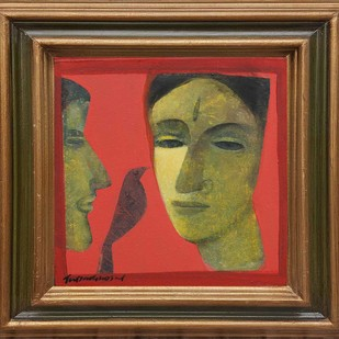 """Face Series, Acrylic on Canvas by Contemporary Artist """"In Stock"""" by Tapas Ghosal, Expressionism Painting, Acrylic on Canvas, Brown color"""