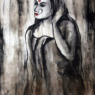 Indian lady 31 by MADURAI GANESH, Illustration Painting, Watercolor & Ink on Paper, Gray color