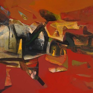 "Landscape Acrylic on Canvas by Contemporary Artist ""In Stock"" by Tapas Ghosal, Abstract Painting, Acrylic on Canvas, Brown color"