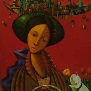 maya by Manish Rao, Expressionism Painting, Acrylic on Canvas, Brown color