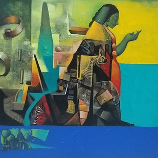 Busy by Manish Rao, Expressionism Painting, Acrylic on Canvas, Green color