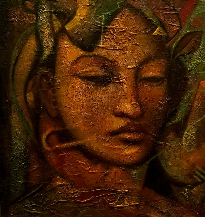 heo hwang by Manish Rao, Expressionism Painting, Acrylic on Board, Brown color