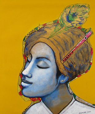 Krishna by Dilawar Khan, Expressionism Painting, Acrylic on Canvas, Orange color