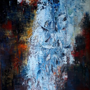 City Life by Niladri Ghosh, Impressionism Painting, Acrylic on Canvas, Blue color