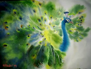Toward by Niladri Ghosh, Impressionism Painting, Watercolor on Paper, Green color