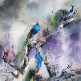 Climate Change- wildlife by Niladri Ghosh, Impressionism Painting, Watercolor on Paper, Gray color
