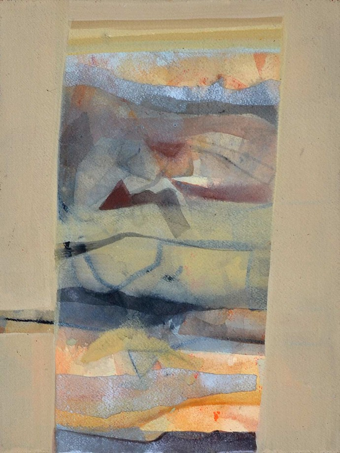 Untitled by Tapas Ghosal, Abstract Painting, Watercolor on Paper, Beige color