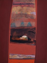 Untitled by Tapas Ghosal, Abstract Painting, Watercolor on Paper, Brown color