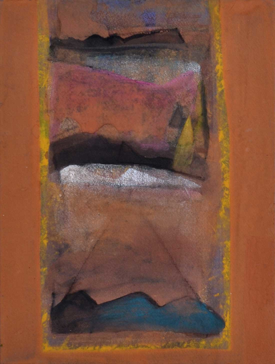 """Water colour, Gouache Powder Pigment on Arches Paper by Contemporary Artist """"In Stock"""" by Tapas Ghosal, Abstract Painting, Watercolor on Paper, Brown color"""