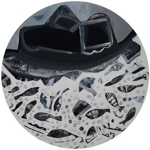 "Black and white in Acrylic, Cityscape, Landscape, Snowfall, by ace Indian Artist ""In Stock"" by Tapas Ghosal, Abstract Painting, Acrylic on Canvas, Gray color"