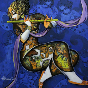 Krishna by Kishore Roy, Traditional Painting, Acrylic on Canvas, Blue color
