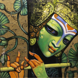 Krishna by Kishore Roy, Decorative Painting, Acrylic on Canvas, Green color