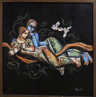 Radha Krishna by Kishore Roy, Traditional Painting, Acrylic on Canvas, Gray color