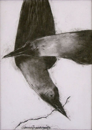 """Crow, Conte on Archival Paper by Modern Artist """"In Stock"""" by Shuvaprasanna B, Illustration Painting, Conte on Paper, Gray color"""