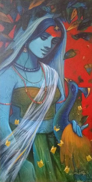"""Radha, Acrylic on Canvas by Contemporary Artist """"In Stock"""" by Subrata Das, Expressionism Painting, Acrylic on Canvas, Green color"""