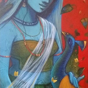 "Radha, Acrylic on Canvas by Contemporary Artist ""In Stock"" by Subrata Das, Expressionism Painting, Acrylic on Canvas, Green color"