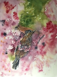 Harmony by Nahid Aamina Sowkath, Impressionism Painting, Watercolor on Paper, Brown color