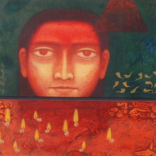 "Face, Tempera on Board, Red, Yellow colors by Indian Artist ""In Stock"" by Atin Basak, Expressionism Painting, Tempera on Board, Red color"