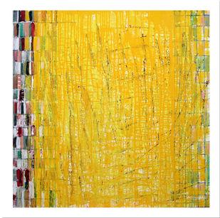 Metro Palilin Serias by Kalicharan Gupta, Abstract Painting, Acrylic on Canvas, Yellow color