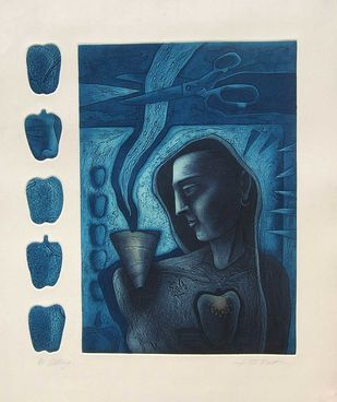"Figurative, Etching on paper, Deep Blue, Black by Indian Artist ""In Stock"" by Atin Basak, Expressionism Painting, Etching on Paper, Blue color"