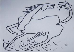 Horse by Prokash Karmakar, Illustration Drawing, Ink on Paper, Pink color