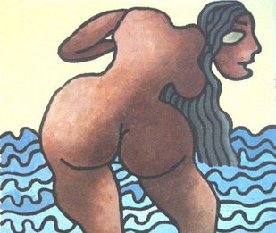 "Large Eyed Nude Women with Long Hair by Indian master Artist Prokash Karmakar ""In Stock"" by Prokash Karmakar, Expressionism Painting, Mixed Media on Paper, Brown color"