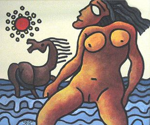 "Nude Women with a Horse by Indian Master Artist Prokash Karmakar ""In Stock"" by Prokash Karmakar, Expressionism Painting, Mixed Media on Paper, Brown color"