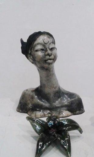 Self portrait-II by Shanta Samant, Art Deco Sculpture | 3D, Ceramic, Gray color