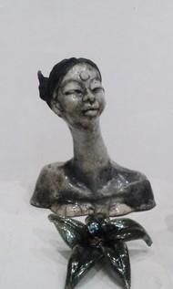 Self portrait-II by Shanta Samant, Art Deco Sculpture | 3D, Ceramic, Gray color