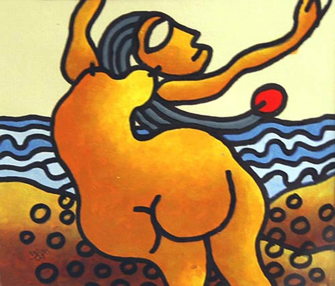 "Nude, Beach Series Mixed Media on Paper by Modern Indian Artist ""In Stock"" by Prokash Karmakar, Expressionism Painting, Mixed Media on Paper, Brown color"