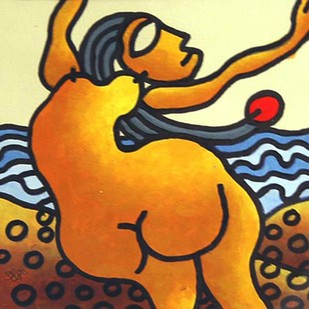 """Nude, Beach Series Mixed Media on Paper by Modern Indian Artist """"In Stock"""" by Prokash Karmakar, Expressionism Painting, Mixed Media on Paper, Brown color"""