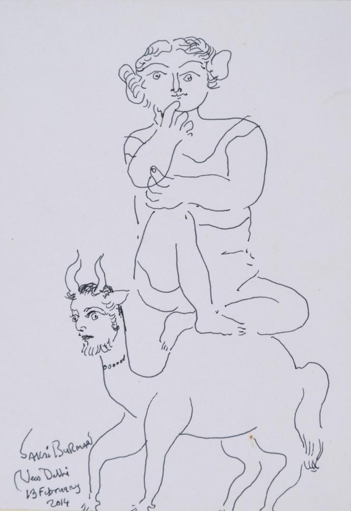Untitled by Sakti Burman, Illustration Drawing, Pen & Ink on Paper, Gray color