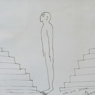 Untitled by G R Iranna, Illustration Drawing, Pen & Ink on Paper, Gray color