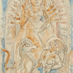 "Durga, Mixed Meda on Paper by Contemporary Artist ""In Stock"" by Shyamal Roy, Illustration Painting, Mixed Media on Paper, Beige color"