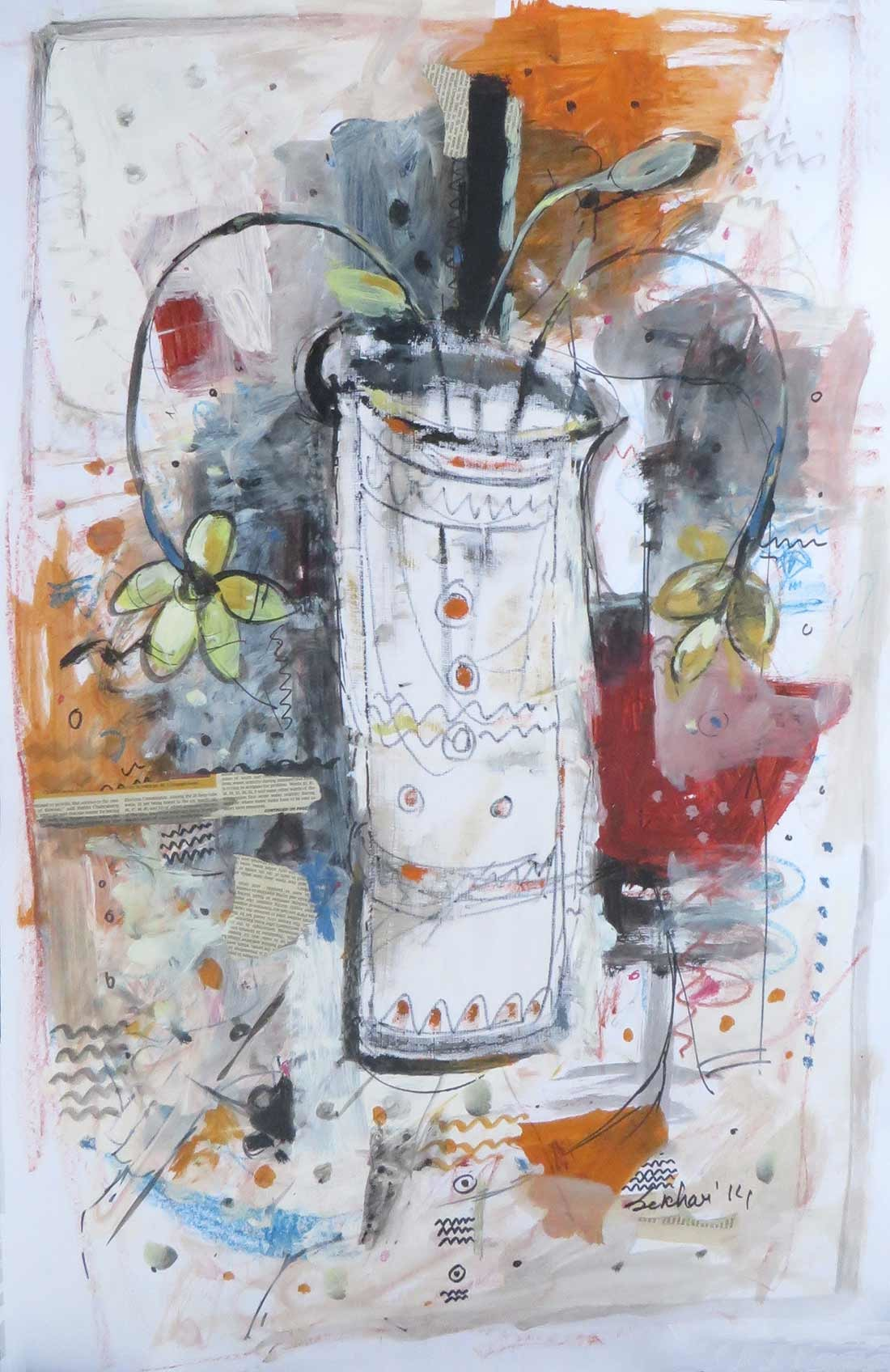 "Flower Vase, Mixed Media on paper, Red, Blue, Black by Indian Artist ""In Stock"" by Sekhar Kar, Impressionism Painting, Mixed Media on Paper, Gray color"