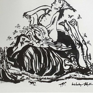 """Untitled, Ink on Paper by Contemporary Artist """"In Stock"""" by Ashoke Mullick, Illustration Drawing, Ink on Paper, Gray color"""