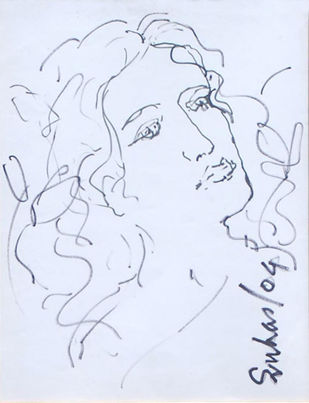 """Radha, Drawing, Ink on paper by Indian Modernist """"In Stock"""" by Suhas Roy, Illustration Drawing, Ink on Paper, Cyan color"""
