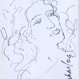 "Radha, Drawing, Ink on paper by Indian Modernist ""In Stock"" by Suhas Roy, Illustration Drawing, Ink on Paper, Cyan color"