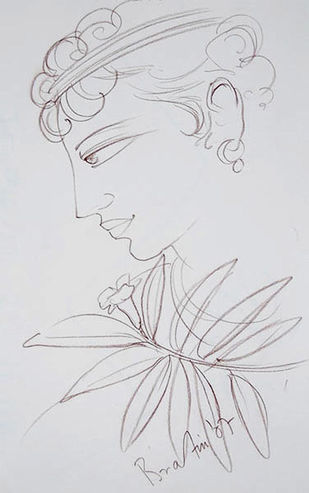 "Krishna, Conte on Paper by Contemporary Artist ""In Stock"" by Bratin Khan, Illustration Drawing, Conte on Paper, Gray color"