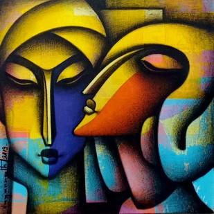 "Untitled, Acrylic, Charcoal on Canvas by Contemporary Artist ""In Stock"" by Jagannath Paul, Expressionism Painting, Acrylic on Canvas, Green color"