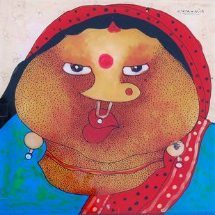 """Untitled, Oil & Acrylic on Sheet by Contemporart Artist """"In Stock"""" by Shyamal Mukherjee, Expressionism Painting, Oil on Acrylic Sheet, Brown color"""