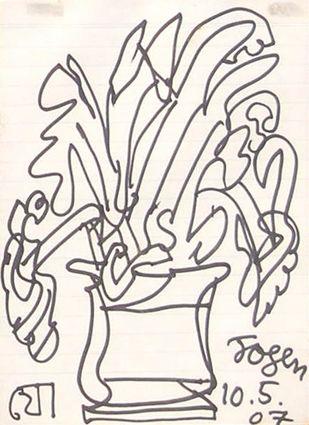 Flower Vase by Jogen Chowdhury, Illustration Drawing, Ink on Paper, Pink color