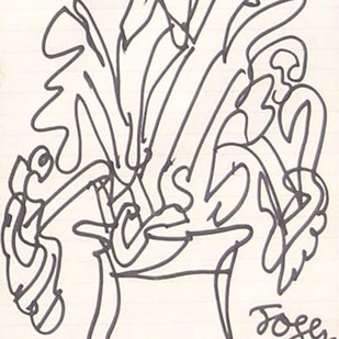 "Flower Vase, Ink on Paper by Modern Indian Artist ""In Stock"" by Jogen Chowdhury, Illustration Drawing, Ink on Paper, Pink color"