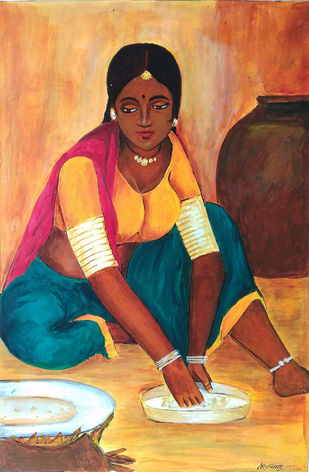 Lady on work by NARENDRA NIGAM, Expressionism Painting, Acrylic on Paper, Brown color