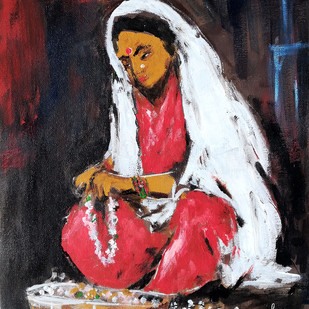 Phoolwali by NARENDRA NIGAM, Expressionism Painting, Acrylic on Canvas, Brown color