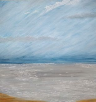 Silver ocean by Jahnavi KJ, Impressionism Painting, Oil on Canvas, Cyan color