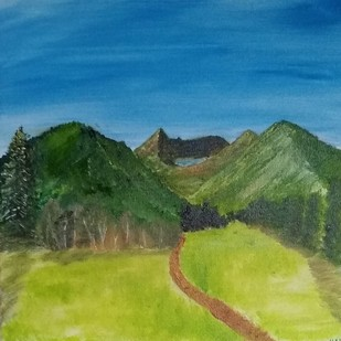 Utah by Jahnavi KJ, Expressionism Painting, Oil on Canvas, Green color
